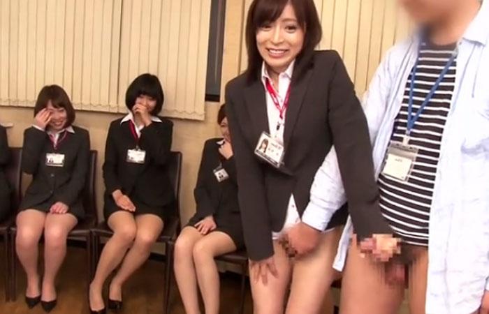 挨拶が手コキ手マンの会社「こんにちは!」発射するまでシコシコする女子社員たち 01