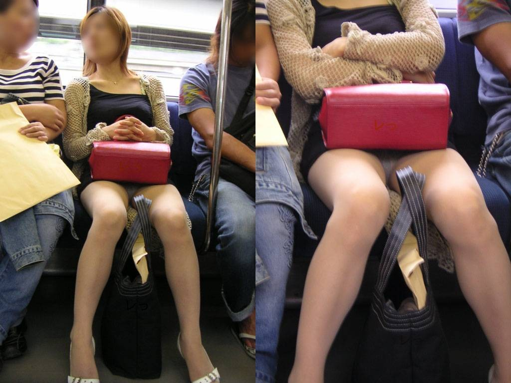 【パンチラエロ画像】対面の気になり過ぎる存在!電車内の無防備パンチラwww 07