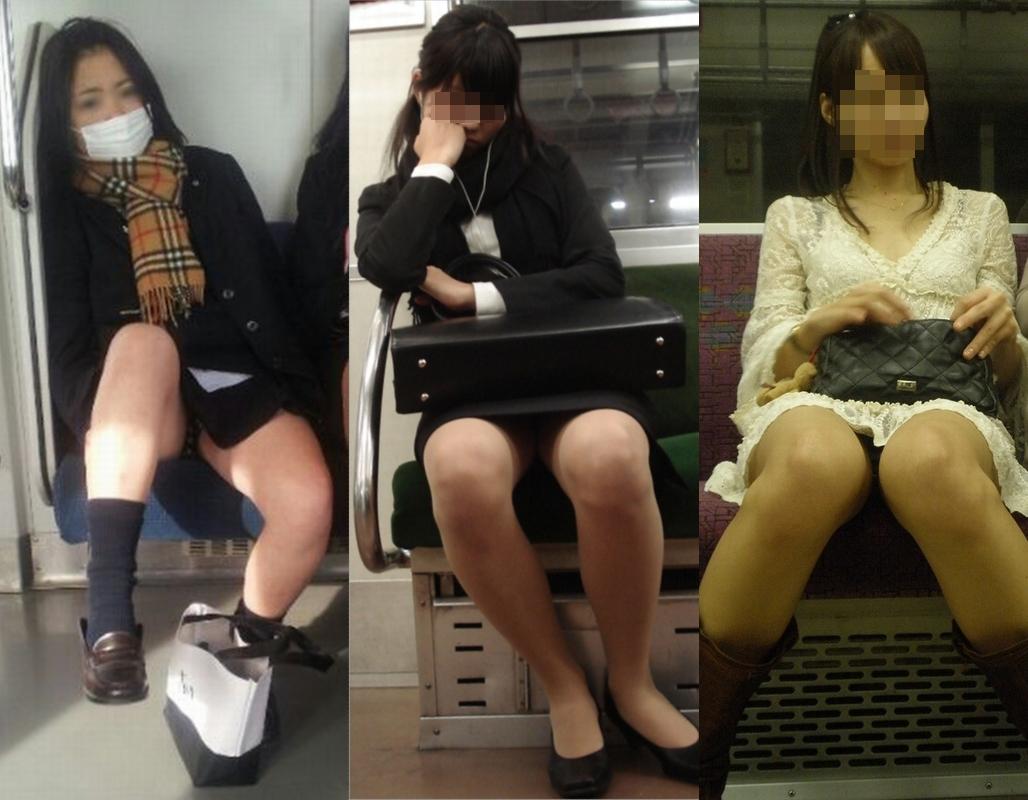 【パンチラエロ画像】対面の気になり過ぎる存在!電車内の無防備パンチラwww 08