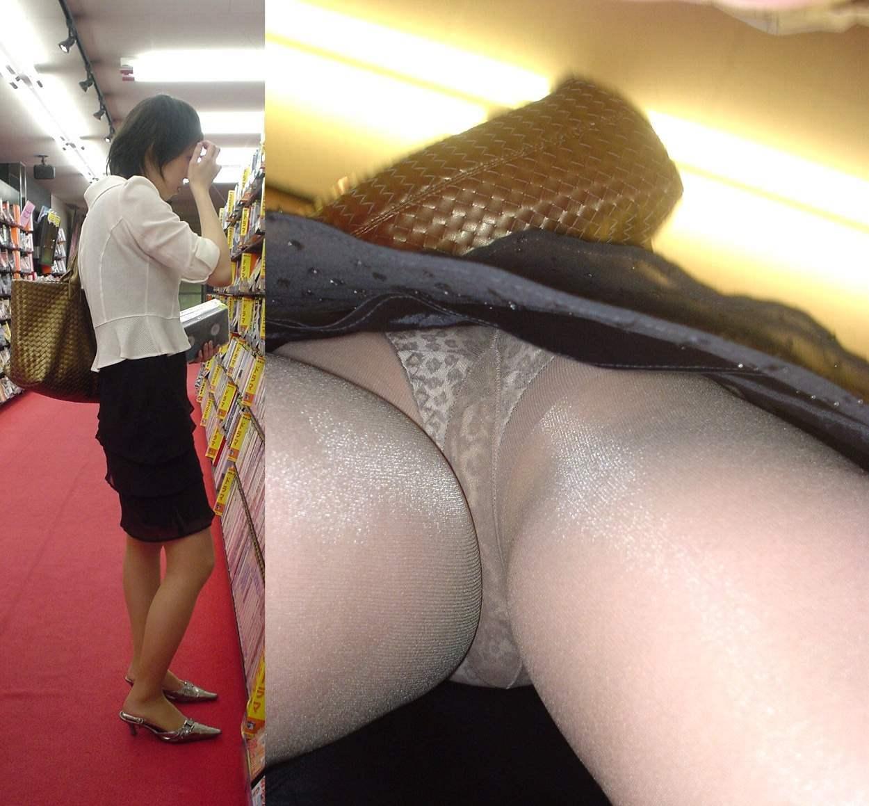 【パンチラエロ画像】下着と一緒に雌の香りもその中に…パンスト逆さ撮りwww 02