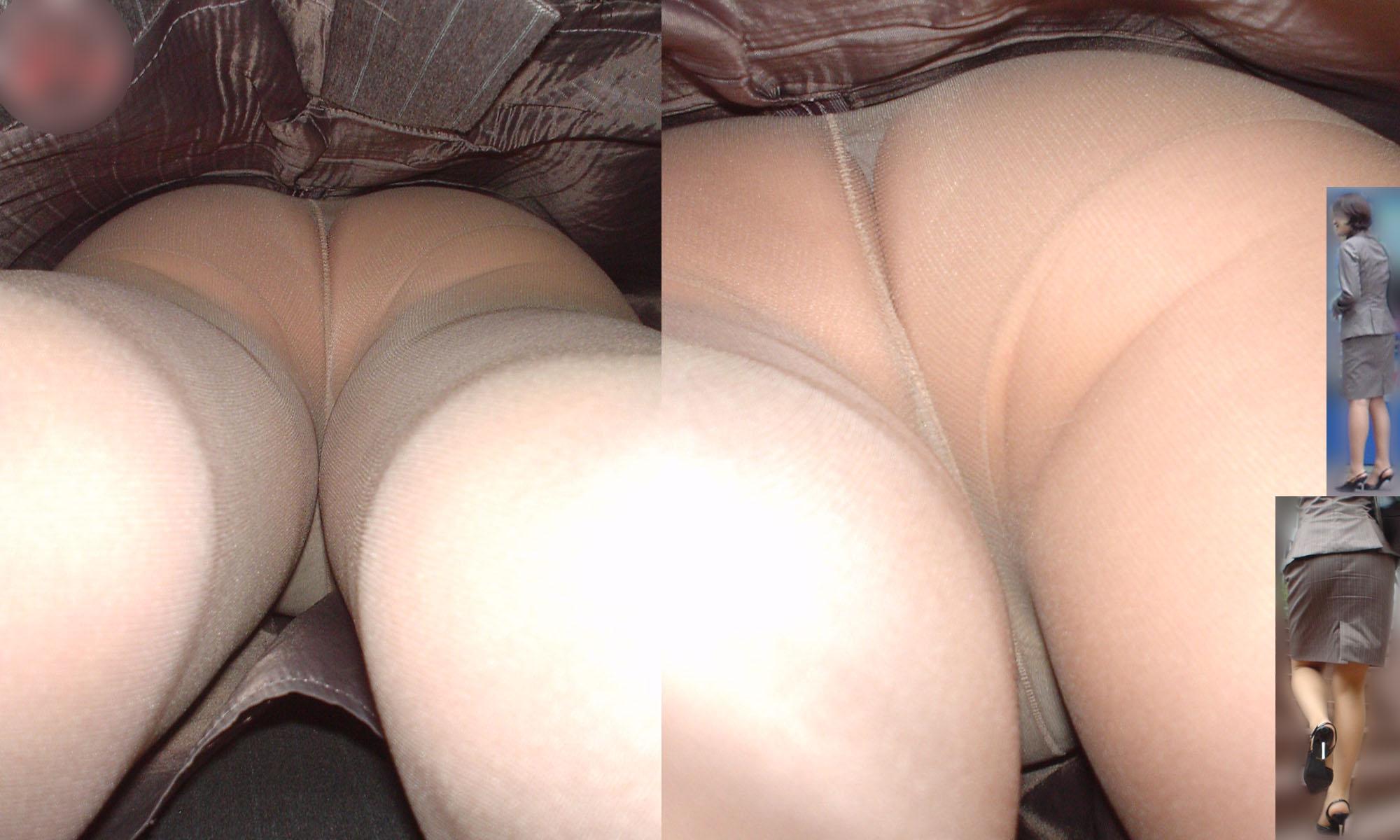 【パンチラエロ画像】下着と一緒に雌の香りもその中に…パンスト逆さ撮りwww 15