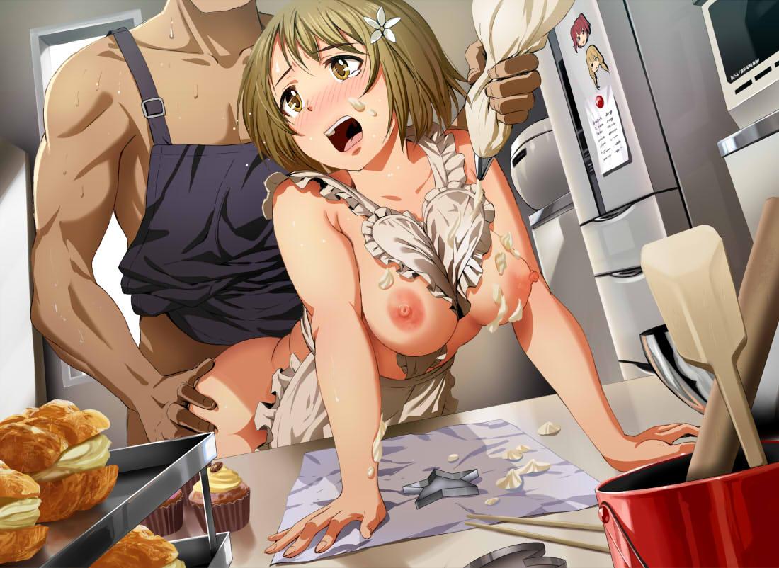 【二次エロ画像】前からもハミ乳が堪能できるwご飯よりも先がイイ裸エプロン娘www 14