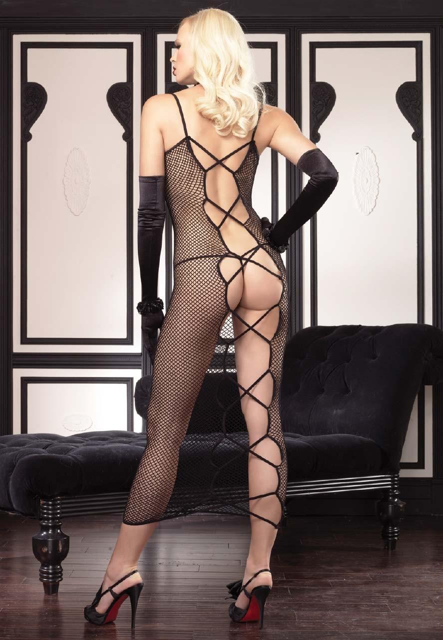 【下着エロ画像】股間は穴開きw行為用でしかない全身網タイツを纏う痴女www 01