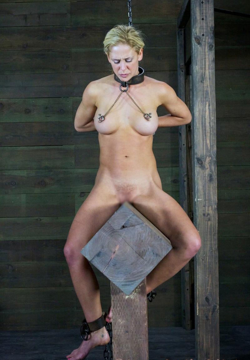 Anime women naked wooden horse commit