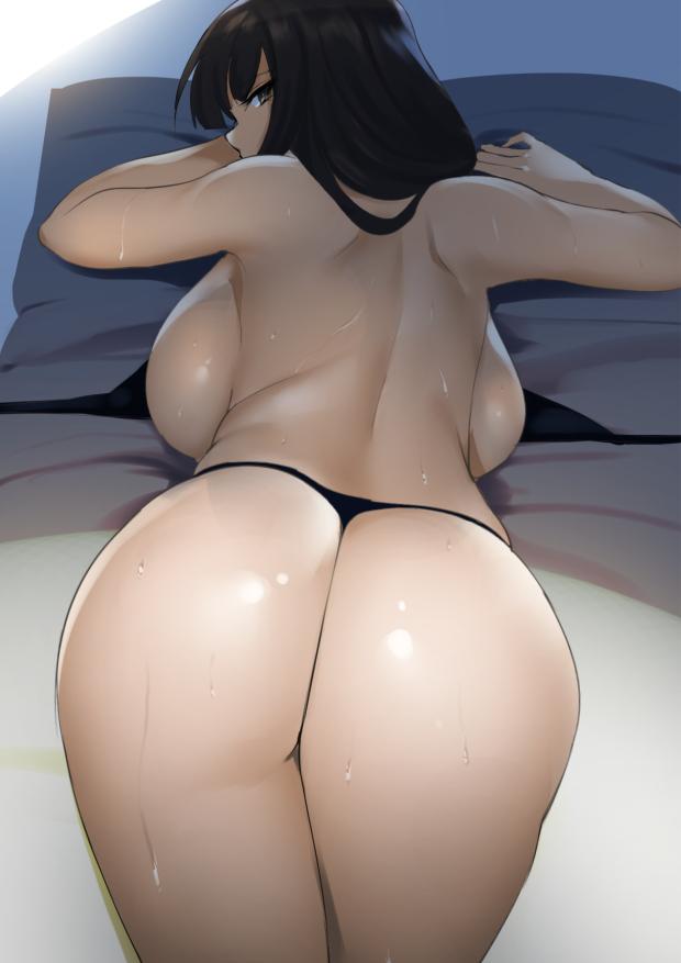 【二次エロ画像】叩いたら桃の色に染まるかもしれない美少女の極上ヒップwww 01