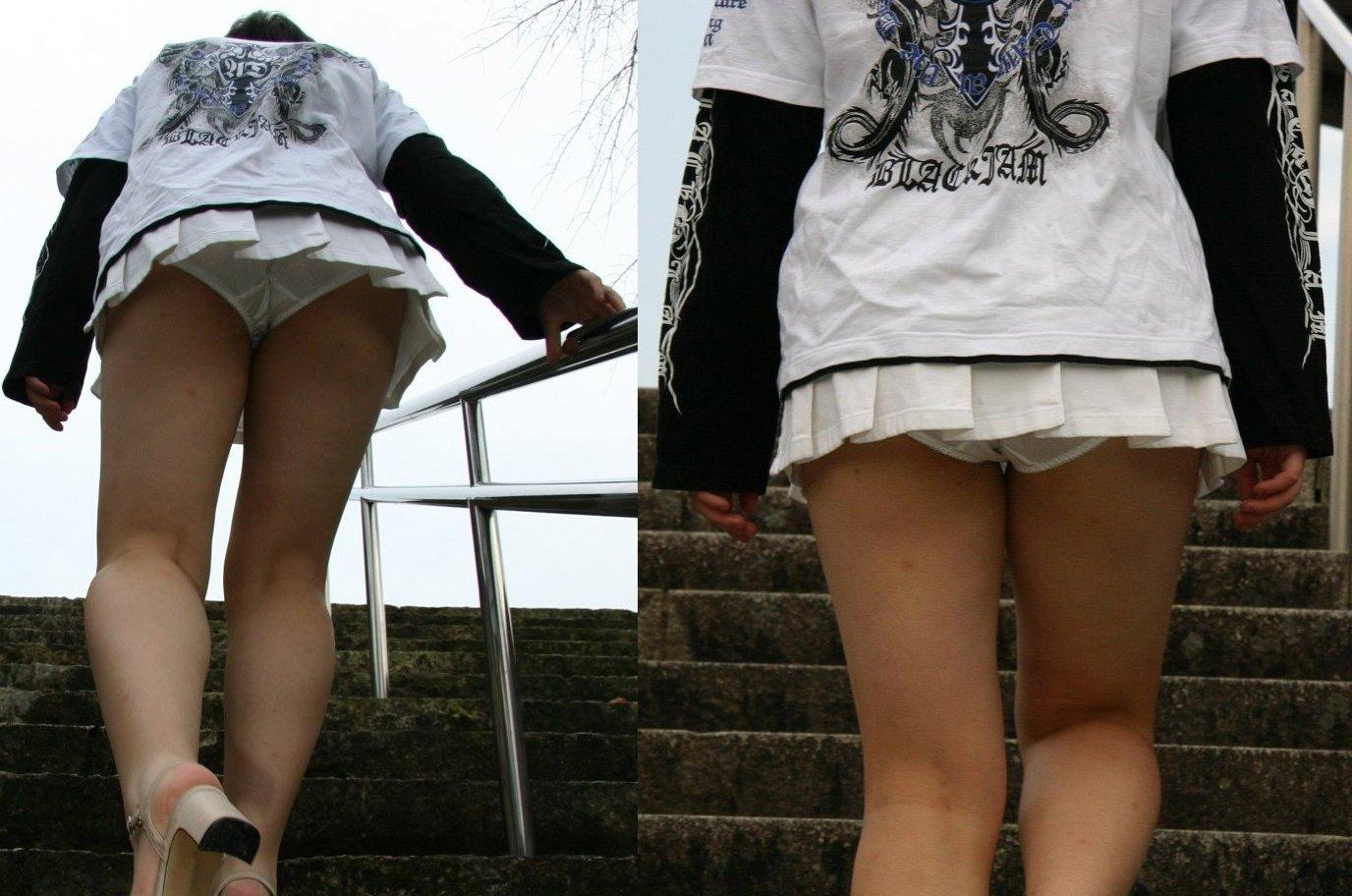 【パンチラエロ画像】やはり階段下は鉄板!斜め下から覗いておパンツ激写www 01