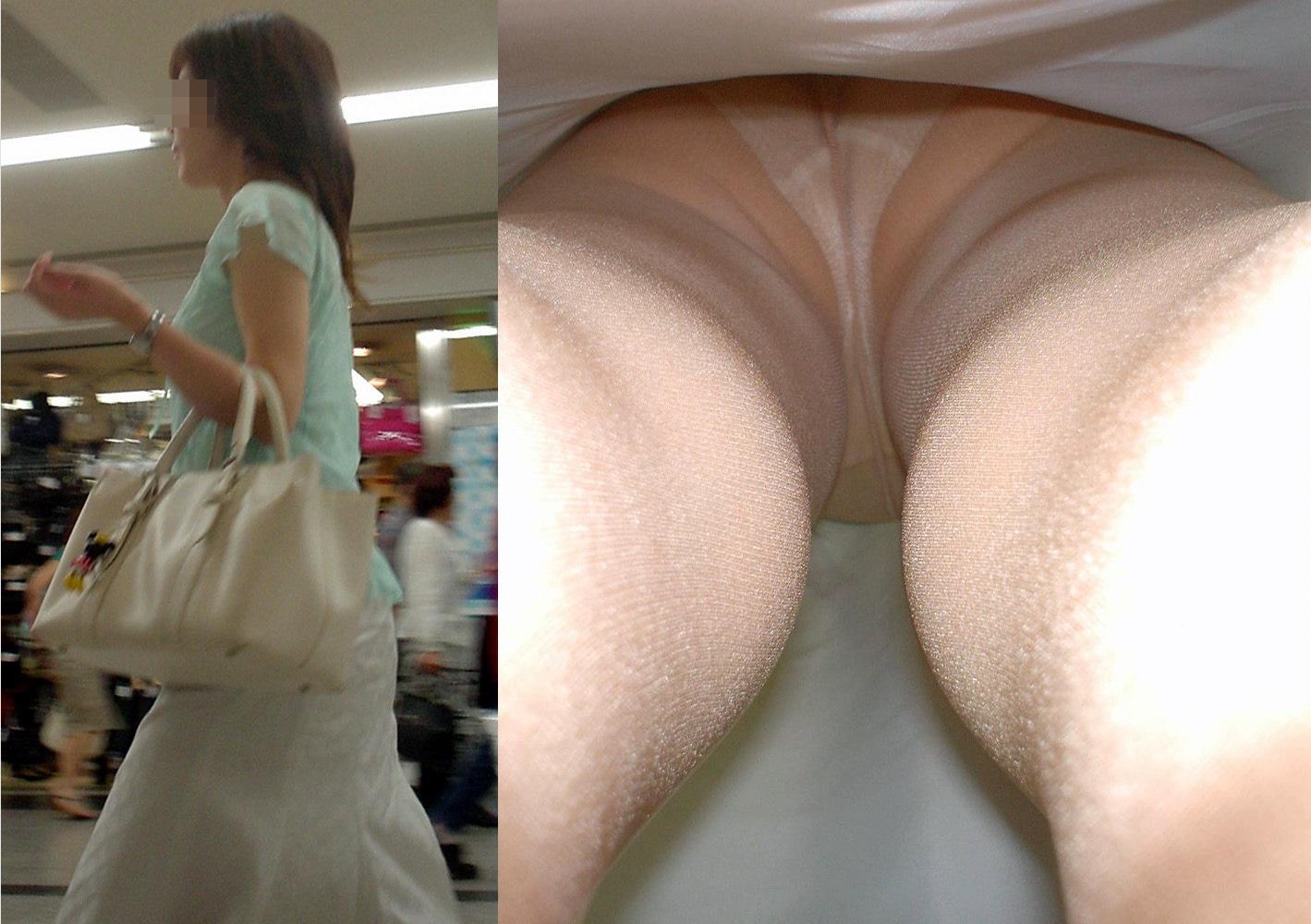 【パンチラエロ画像】ロングスカートも真下は不可避w大胆な下着を暴く逆さ撮りwww 10