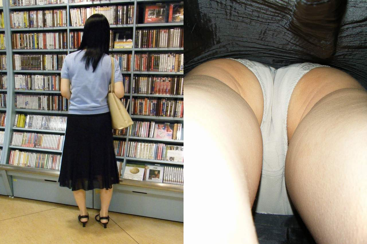 【パンチラエロ画像】ロングスカートも真下は不可避w大胆な下着を暴く逆さ撮りwww 15