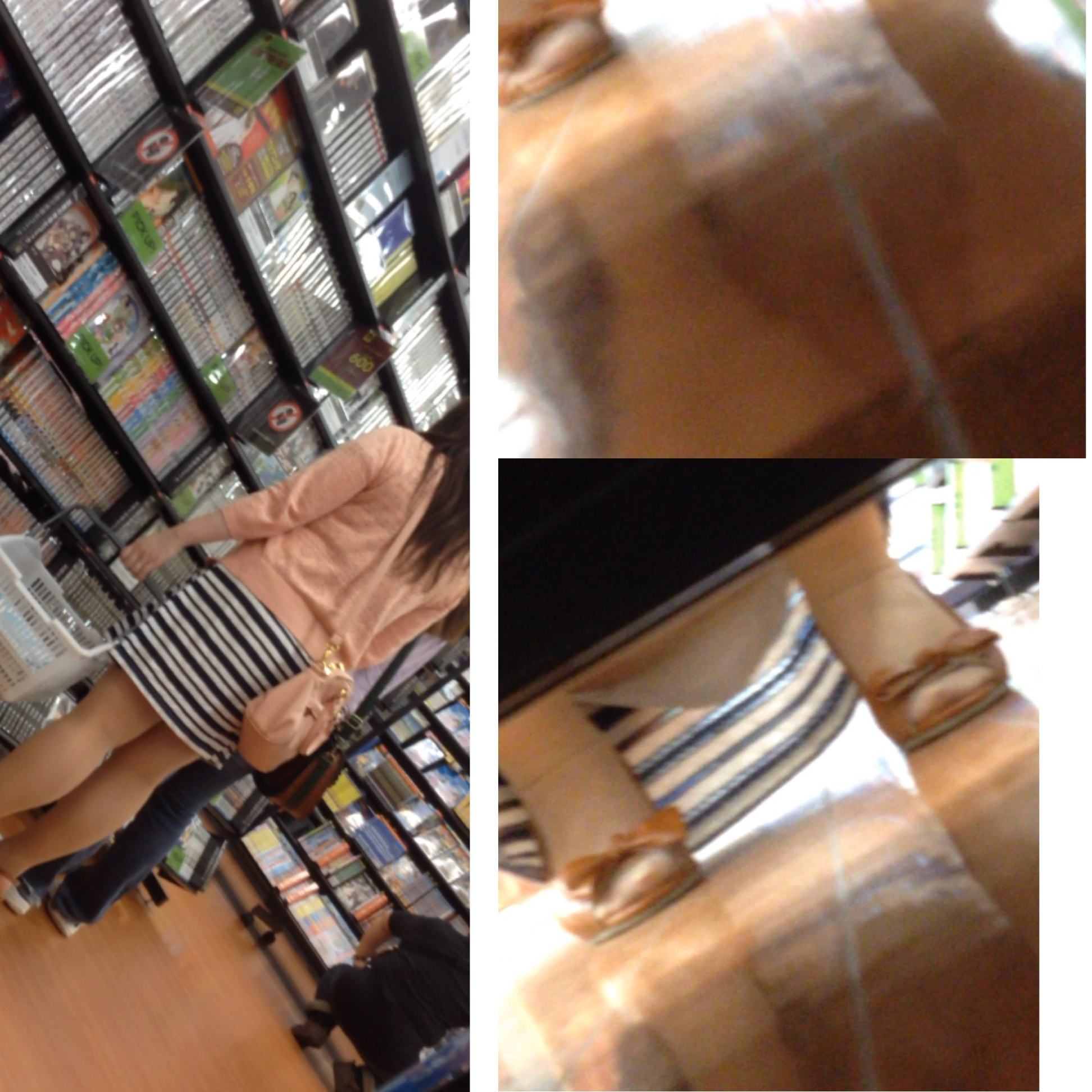 【パンチラエロ画像】棚の向こうに気配!下を除けばパンツ履いた股間がwww 15