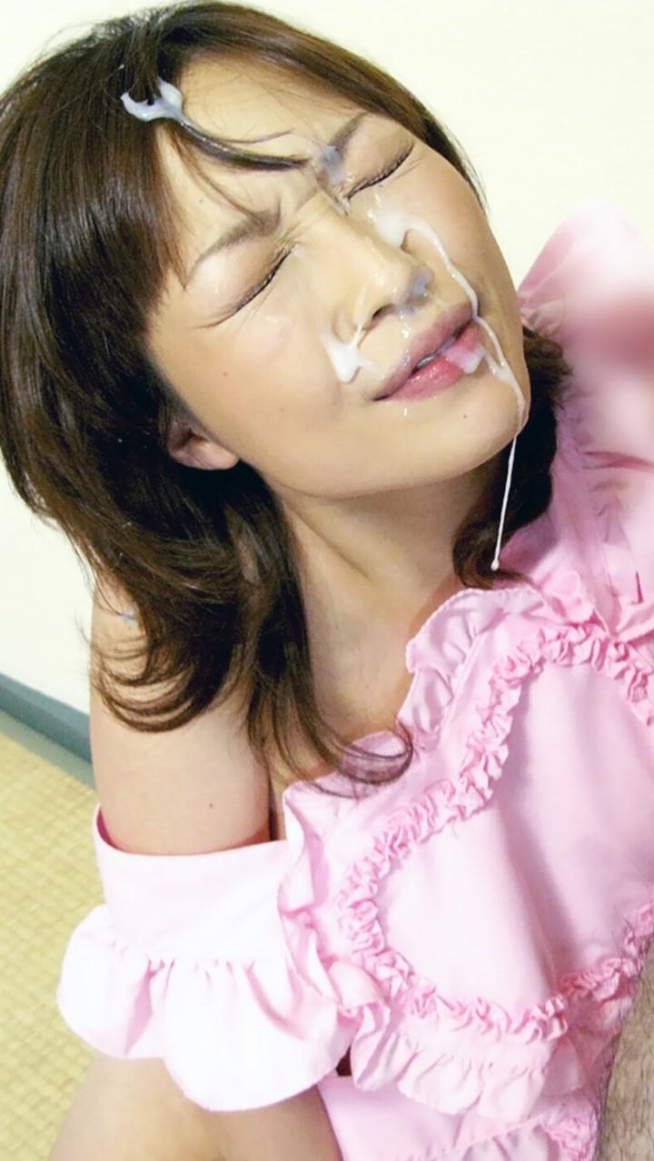 【顔射エロ画像】ぶっかける前に許可は必要wネバネバザー汁に覆われた美顔www 01