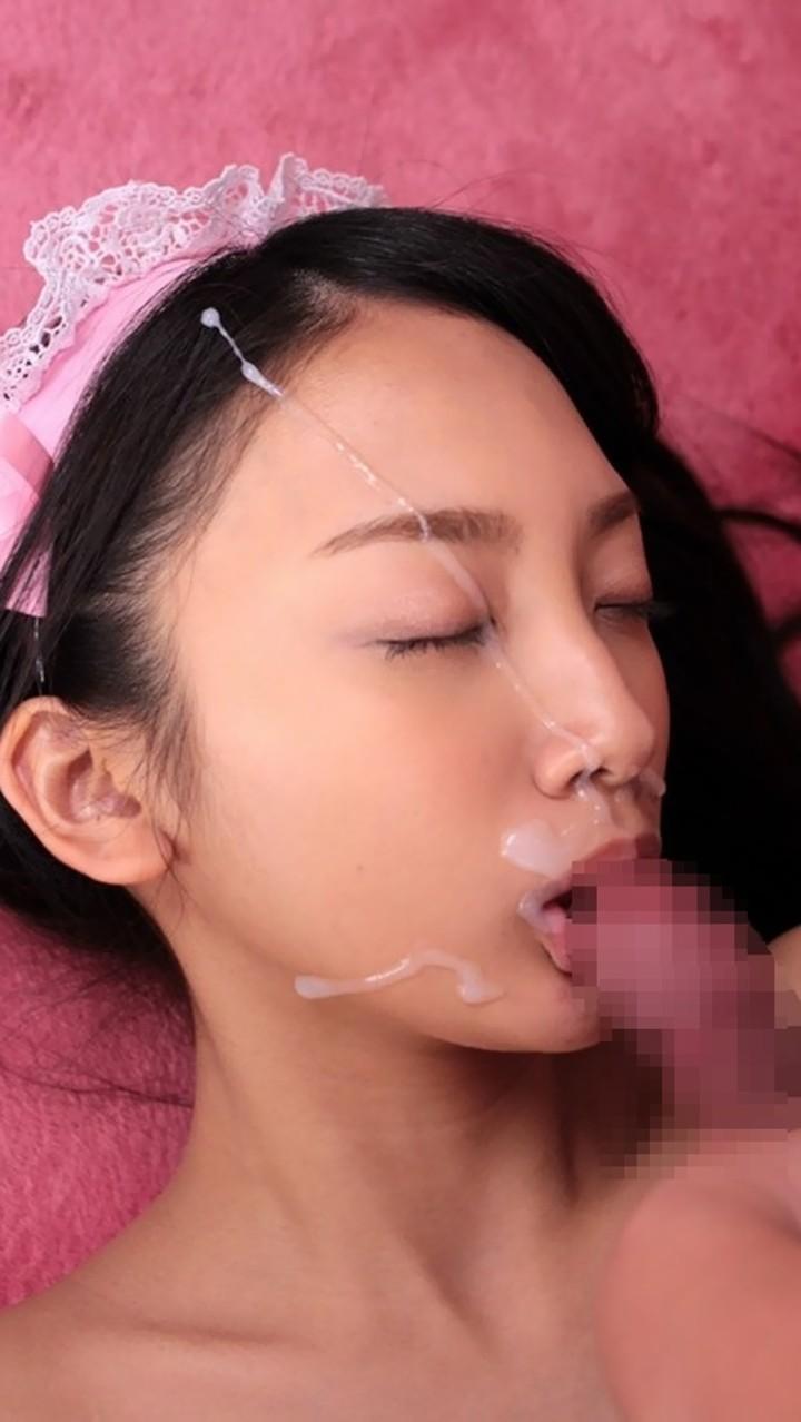 【顔射エロ画像】ぶっかける前に許可は必要wネバネバザー汁に覆われた美顔www 12