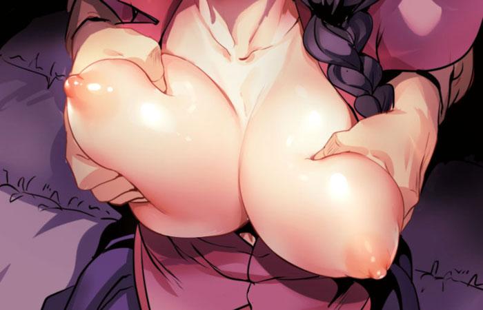 【二次エロ画像】デカくてふわふわ!美少女の大きな乳を欲望任せに揉む! 12