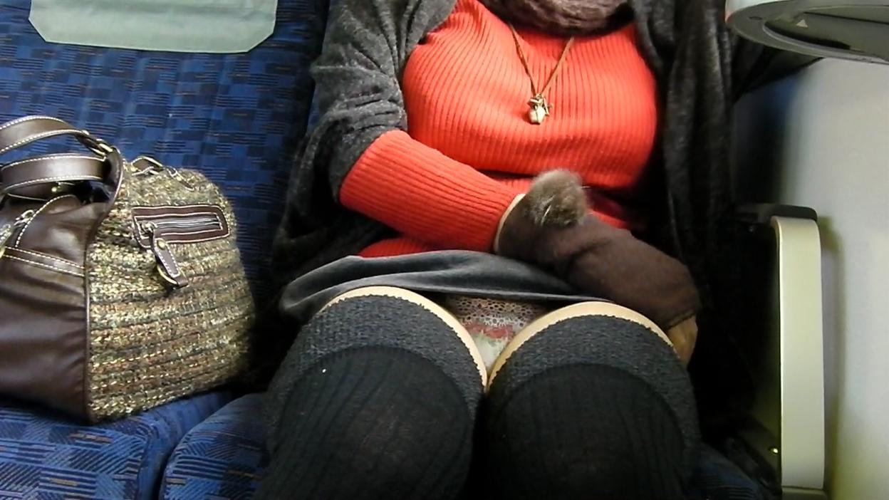 【パンチラエロ画像】居眠り中なら見えっ放し!電車乗客の対面チラ観察www 15