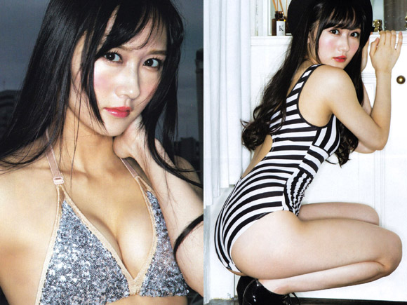 NMB矢倉楓子(19)の美乳が光る…大胆でエッチな水着。
