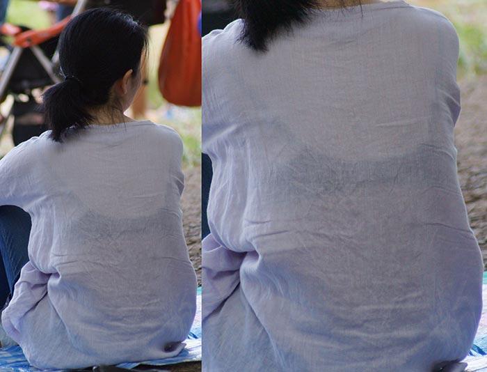 【透けブラエロ画像】後ろ部分が太いと大きい予感!?薄着の透けブラチェックwww 03