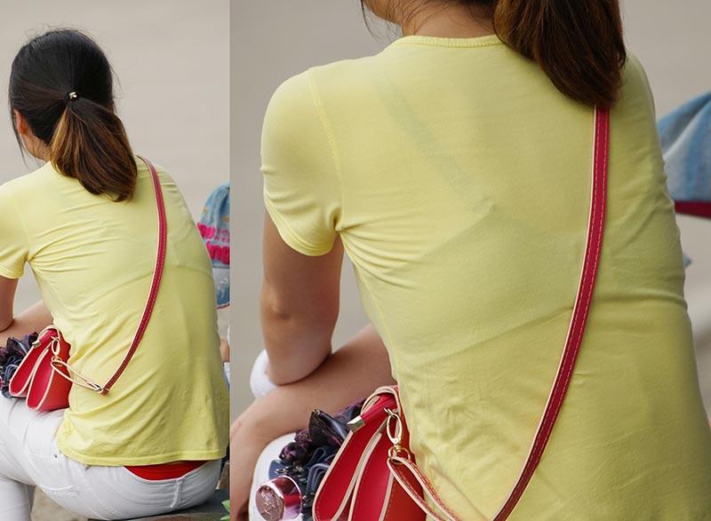 【透けブラエロ画像】後ろ部分が太いと大きい予感!?薄着の透けブラチェックwww 05