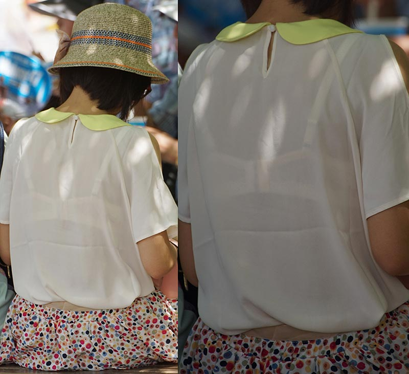 【透けブラエロ画像】後ろ部分が太いと大きい予感!?薄着の透けブラチェックwww 07