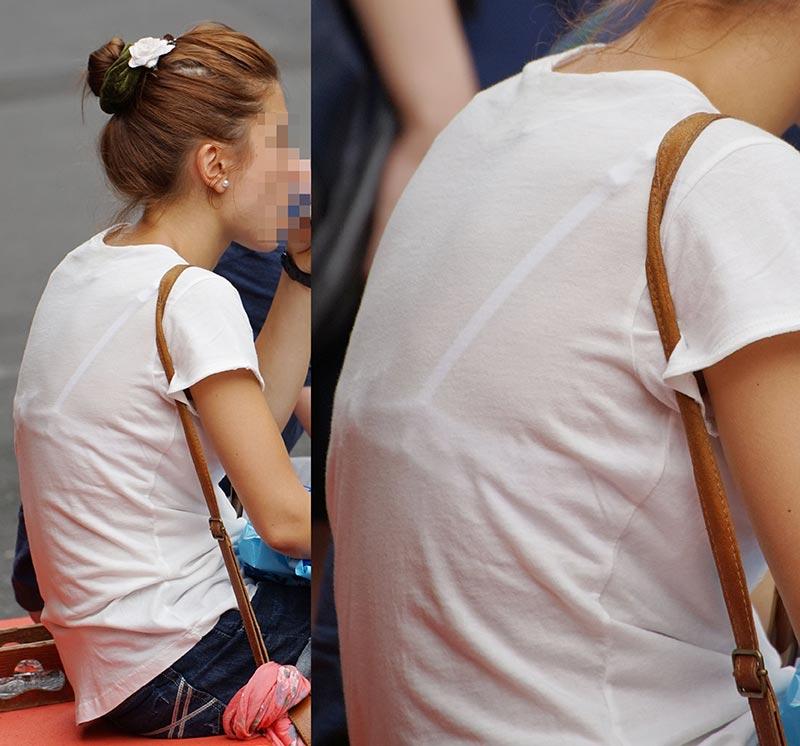 【透けブラエロ画像】後ろ部分が太いと大きい予感!?薄着の透けブラチェックwww 08