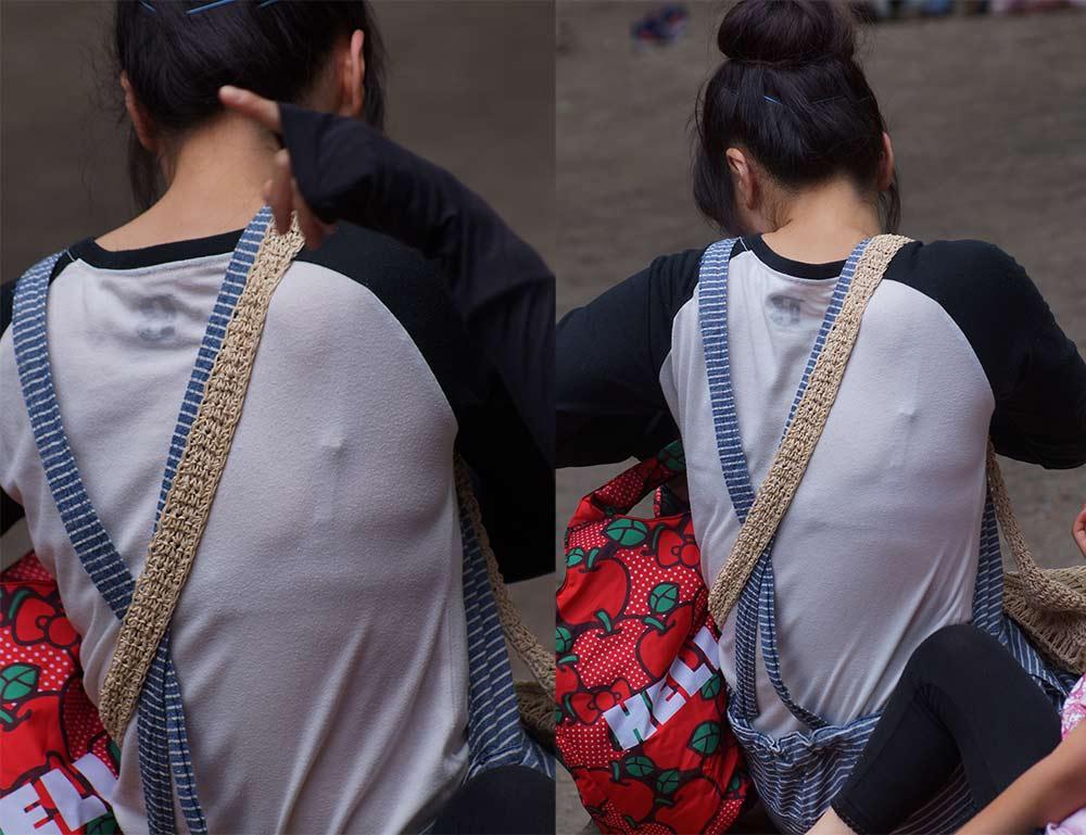 【透けブラエロ画像】後ろ部分が太いと大きい予感!?薄着の透けブラチェックwww 10
