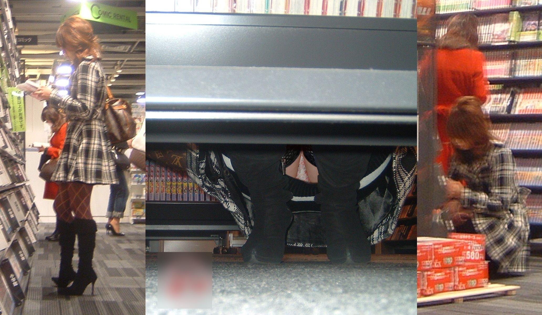 【パンチラエロ画像】店内の棚の向こうに気配!カメラ潜らせ下着を激写www 12