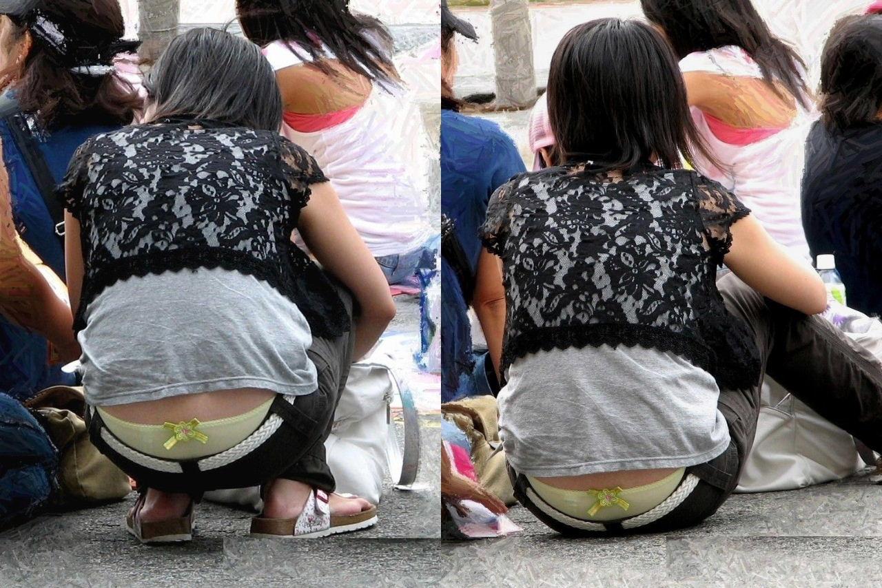 【ローライズエロ画像】座った方がよくハミ出て来るローライズ女子の生下着www 02