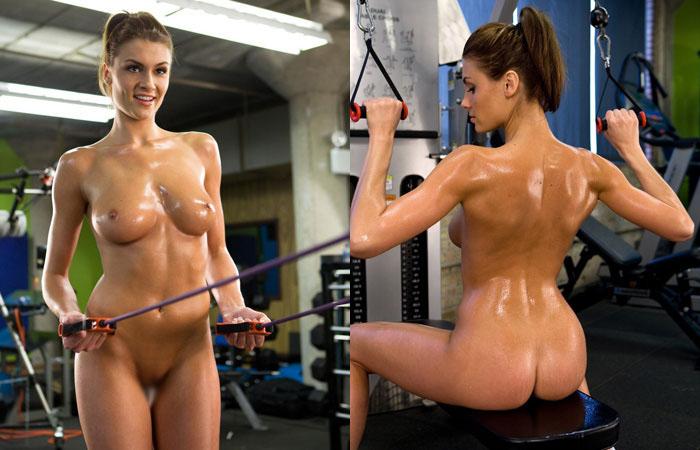 【海外エロ画像】筋肉よりも気になるものが…外人さんの全裸エクササイズwww 表紙