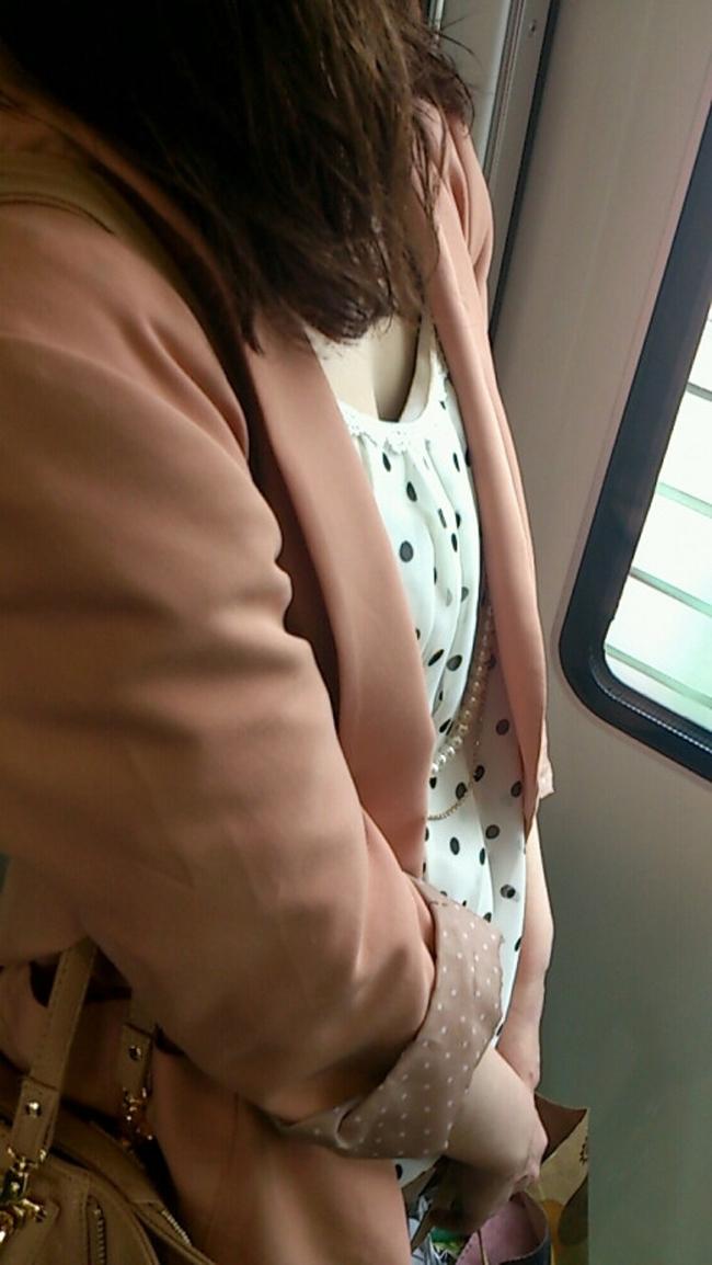 【胸チラエロ画像】満員ならばコレ見て疲れを紛らそうw電車内の胸チラ観察www 01
