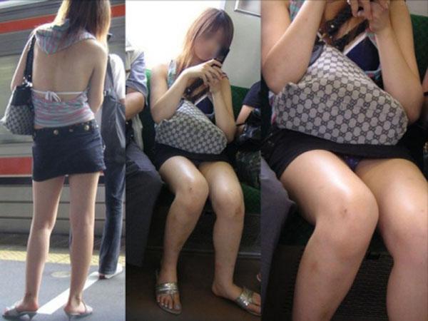 【パンチラエロ画像】何度も乗れば見られる日もある電車のパンチラwww 01