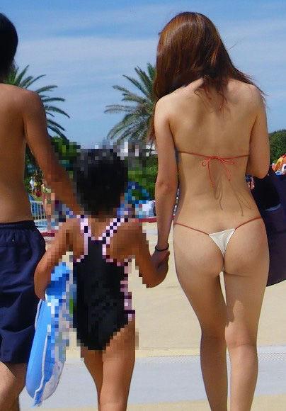 【水着エロ画像】Tバックの変態水着の用途がエロ関連しか思い浮かばないwww 22