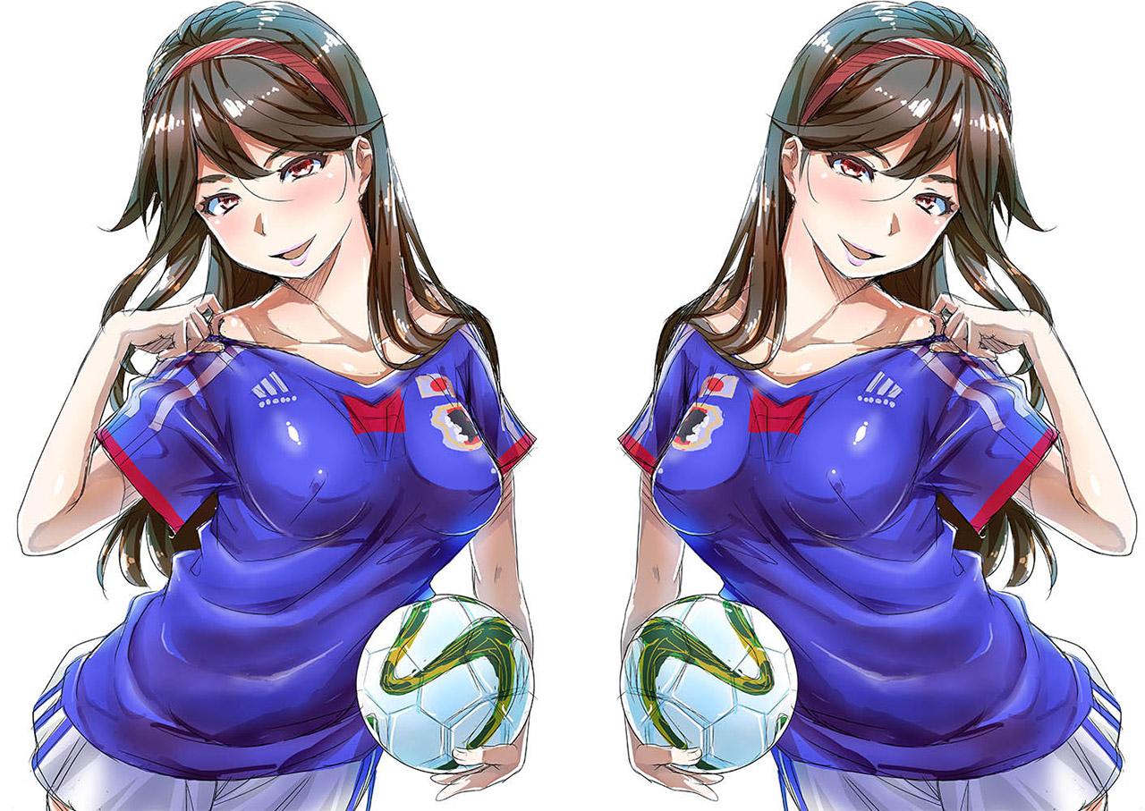 【サッカーエロ画像】日本代表を応援するリアル女子には苦笑いしちゃうけど二次元女子には興奮する! 03