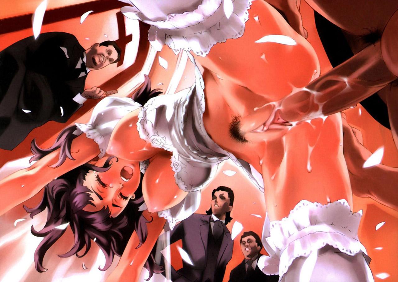 【輪姦エロ画像】複数人の男に乱交されて悔しいのにイっちゃってるイラストwww 20